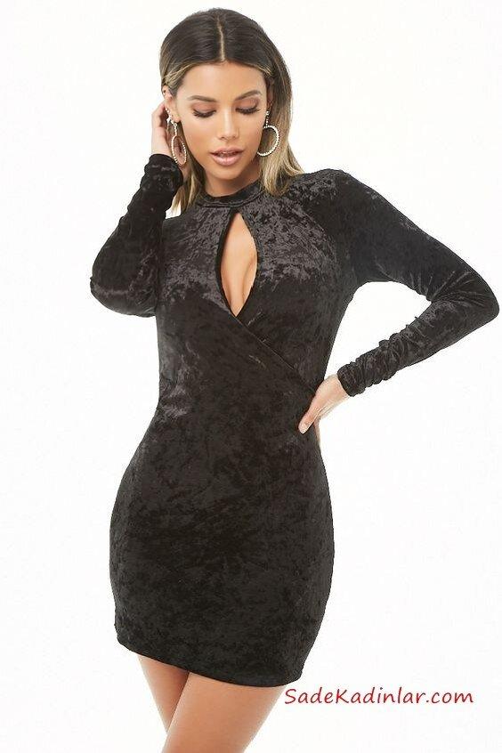 2019 Yılbaşı İçin Gece Kıyafetleri Siyah Kadife Elbise Kısa, Uzun Kollu Yırtmaçlı Yaka