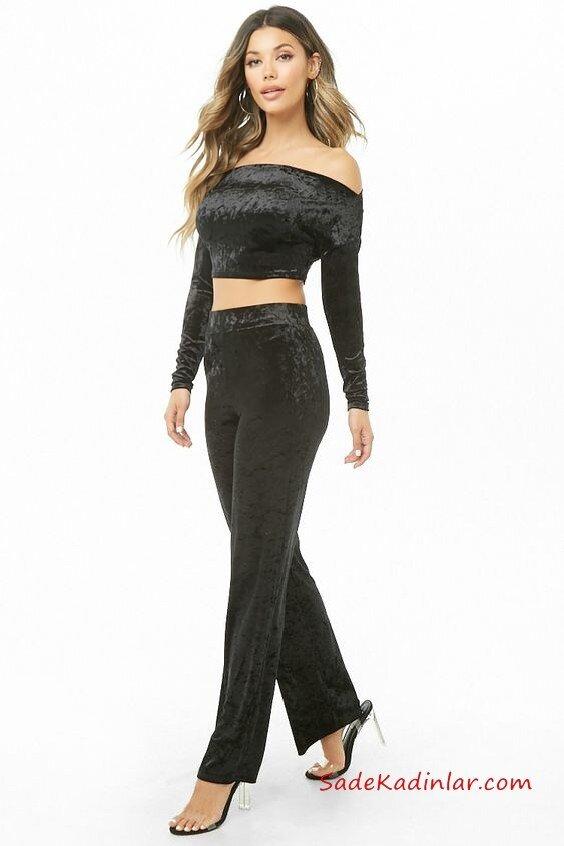 2019 Yılbaşı İçin Gece Kıyafetleri Siyah Kadife İki Parça Büstiyer Bluz Uzun Kol Bol Kesim Pantolon