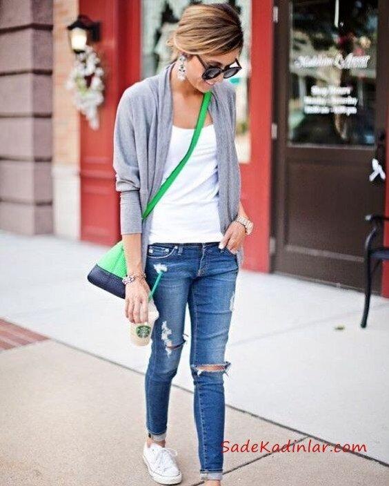 2019 Şık Kombinler Lacivert Yırtık Kot Pantolon Beyaz Bluz Gri Hırka Beyaz Converse Spor Ayakkabı