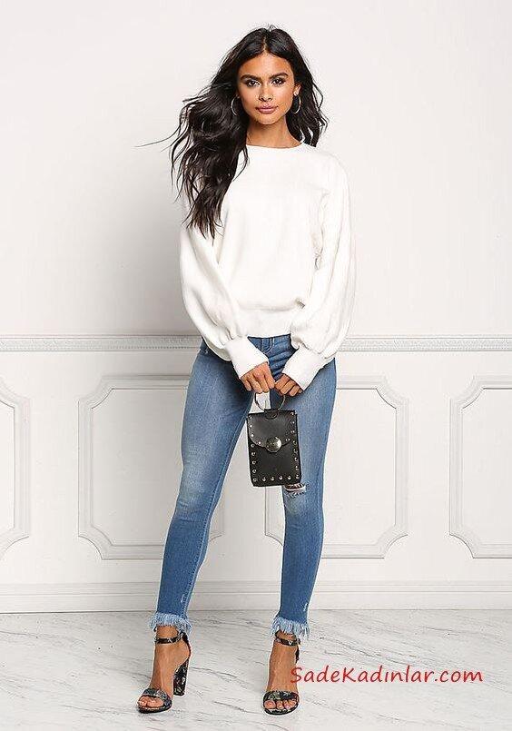 2019 Şık Kombinler Mavi Skinny Kot PAntolon Beyaz Swetshirt Siyah Stiletto Ayakkabı