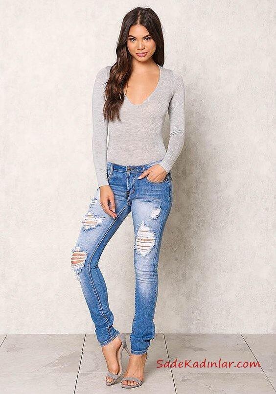 2019 Şık Kombinler Mavi Skinny Yırtık Pantolon Gri V Yaka Bluz Gri Stiletto Ayakkabı