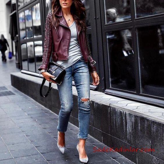 2019 Şık Kombinler Mavi Yırtık Yüksel Bel Pantolon Gri Bluz Bordo Deri Ceket Gri Stiletto Ayakkabı