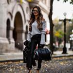 2021 Şık Kombinler Siyah Deri Pantolon Gri Omzu Açık Kazak Siyah Deri Ceket Siyah Stiletto Ayakkabı