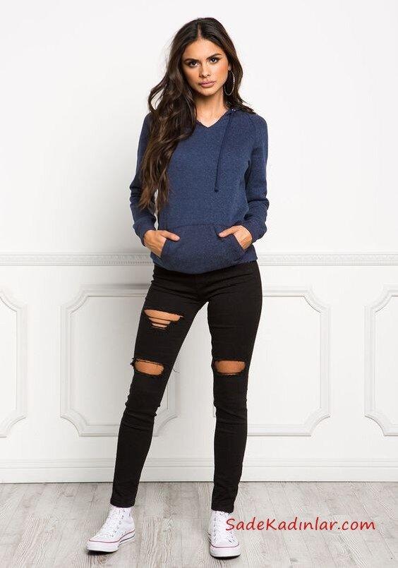 2019 Şık Kombinler Siyah Yırtık Pantolon Lacivert Swetshirt Beyaz Spor Ayakkabı