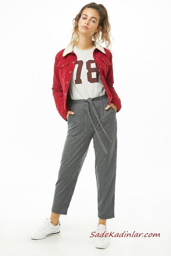 Bayan Pantolon Ceket Kombinleri Gri Çizgili Kumaş Pantolon Gri Bluz Kırmızı Kadife Kısa Ceket Beyaz Spor Ayakkabı