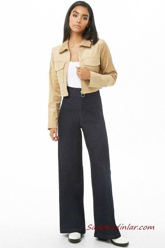 Günlük Kıyafetler Bayan Pantolon Ceket Kombinleri Lacivert Yüksel Bel Bol Paça Pantolon Beyaz Bluz Krem Kısa Ceket Beyaz Topuklu Bot