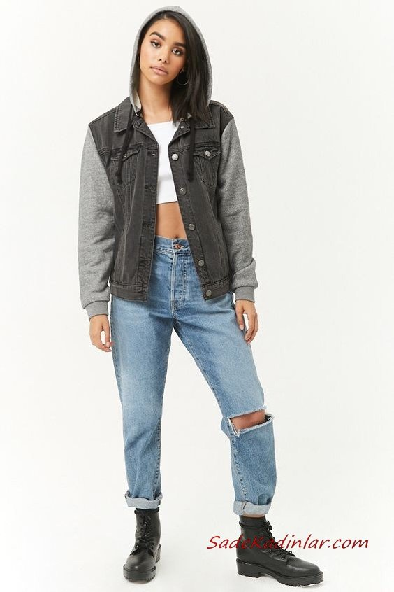 Bayan Pantolon Ceket Kombinleri Mavi Mom Jeans Beyaz Büstiyer Gri Kapşonlu Kot Ceket Siyah Postal Bot