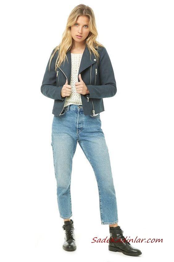 Bayan Pantolon Ceket Kombinleri Mavi Mom jeans Krem Kazak Lacivert Kısa Nubuk Ceket Siyah Bağcıklı Deri Bot