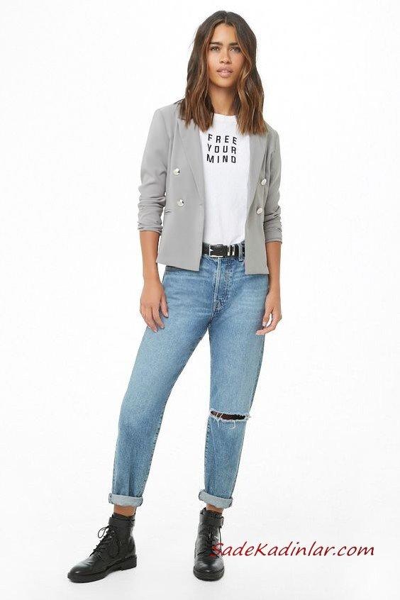 Günlük Kıyafetler Bayan Pantolon Ceket Kombinleri Mavi Yırtık Kot Pantolon Beyaz Bluz Gri Kısa Spor Ceket Siyah Deri Bot