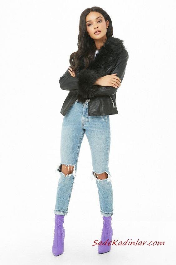 Günlük Kıyafetler Bayan Pantolon Ceket Kombinleri Mavi Yırtık Kot Pantolon Beyaz Bluz Siyah Deri Kısa Kürklü Ceket Eflatun Topuklu Bot