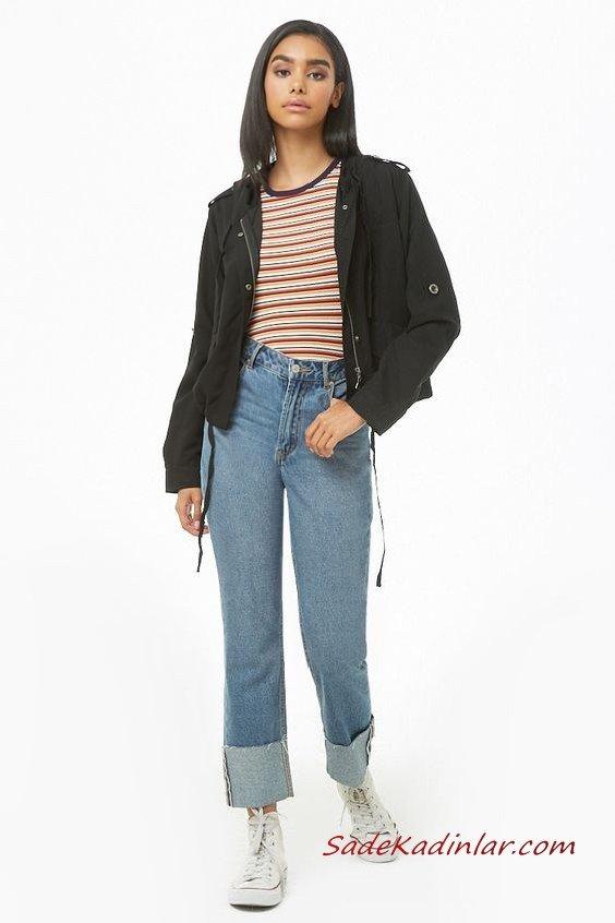 Günlük Kıyafetler Bayan Pantolon Ceket Kombinleri Mavi Yüksel Bel Kot Pantolon Kahverengi Çizgili Bluz Siyah Kısa Spor Ceket Beyaz Converse Spor Ayakkabı