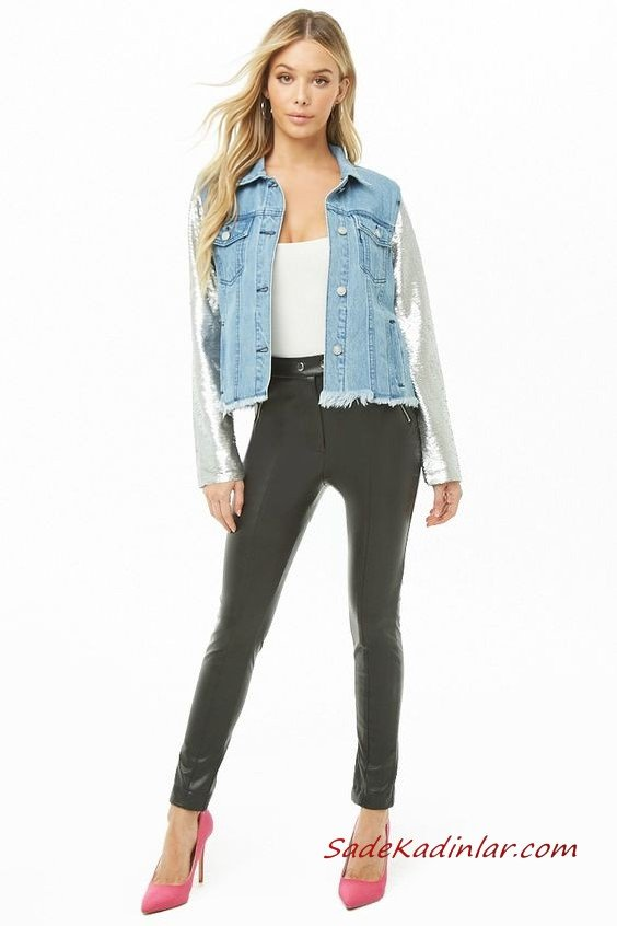 Günlük Kıyafetler Bayan Pantolon Ceket Kombinleri Siyah Deri Pantolon Beyaz Bluz Mavi Payetli Kısa Kot Ceket Pembe Topuklu Ayakkabı