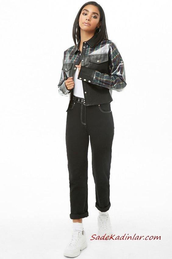 Günlük Kıyafetler Bayan Pantolon Ceket Kombinleri Siyah Kot Pantolon Beyaz Bluz Siyah Ekose Desenli Deri Ceket Beyaz Spor Ayakkabı