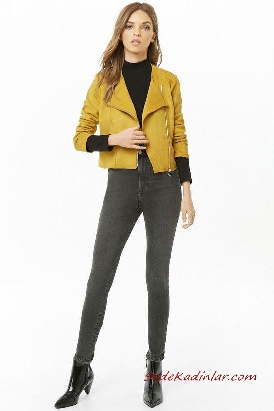 Günlük Kıyafetler Bayan Pantolon Ceket Kombinleri Siyah Skinny Pantolon Siyah Balıkçı Yaka Kazak Sarı Kısa Nubuk Ceket Siyah Rugan topuklu Bot
