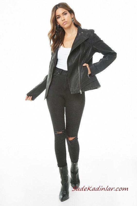 Günlük Kıyafetler Bayan Pantolon Ceket Kombinleri Siyah Yırtık Skinny Pantolon Beyaz Bluz Siyah Kısa Deri Ceket Siyah Ankle Bot