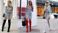 Kısa Gri Triko Elbise Kombinleri 2019 Kış Modası