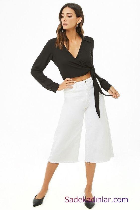 Siyah Gömlek Kombinleri Bayan Beyaz Bol Paça Capri Pantolon Beyaz Uzun Kol Kruvaze Yaka Gömlek Siyah Babet Ayakkabı