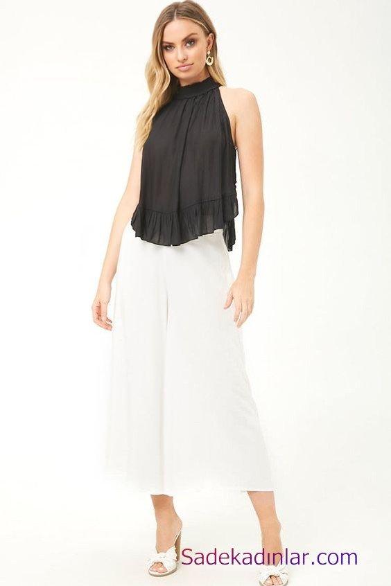 Siyah Gömlek Kombinleri Bayan Beyaz Bol Paça Capri Pantolon Siyah Halter Yaka Salaş Gömlek Beyaz Topuklu Terlik