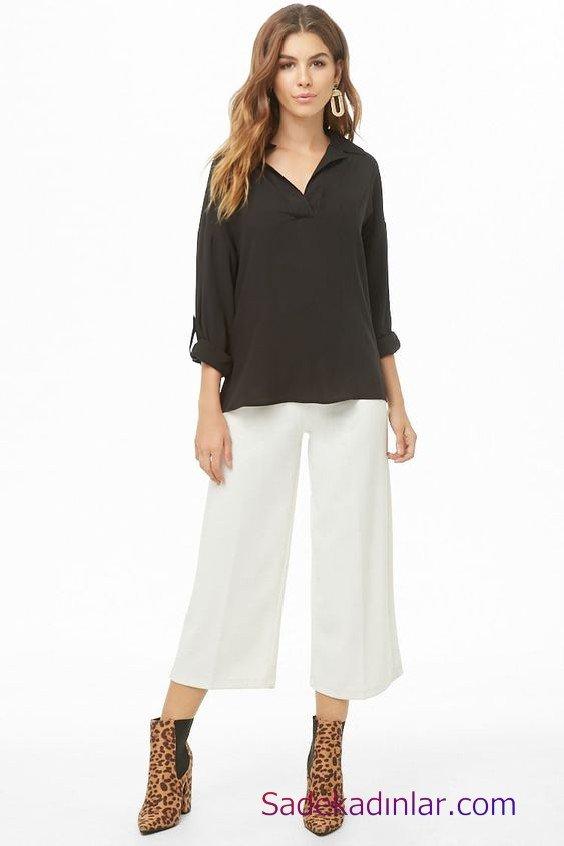 Siyah Gömlek Kombinleri Bayan Beyaz Bol Paça Kumaş Pantolon Siyah Uzun Kol V Yaka Salaş Gömlek Kahverengi Leopar Desenli Topuklu Bot
