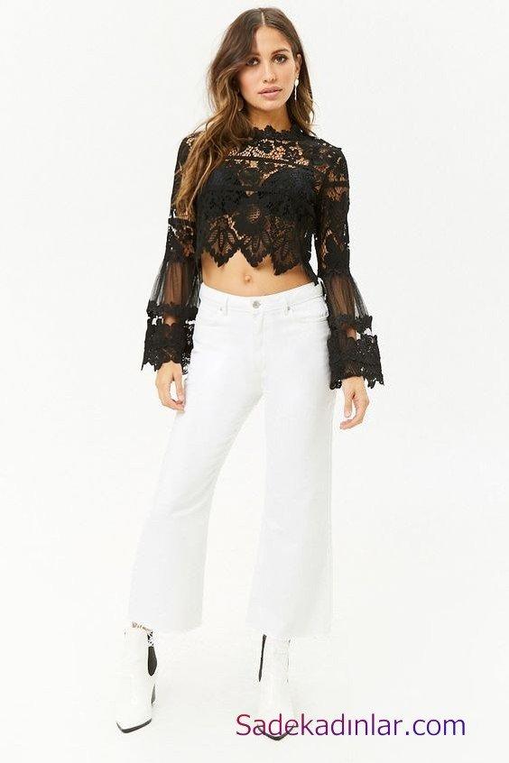 Siyah Gömlek Kombinleri Bayan Beyaz Bol Paça Pantolon Siyah Uzun Kol Dantel Gömlek Beyaz Topuklu Ayakkabı