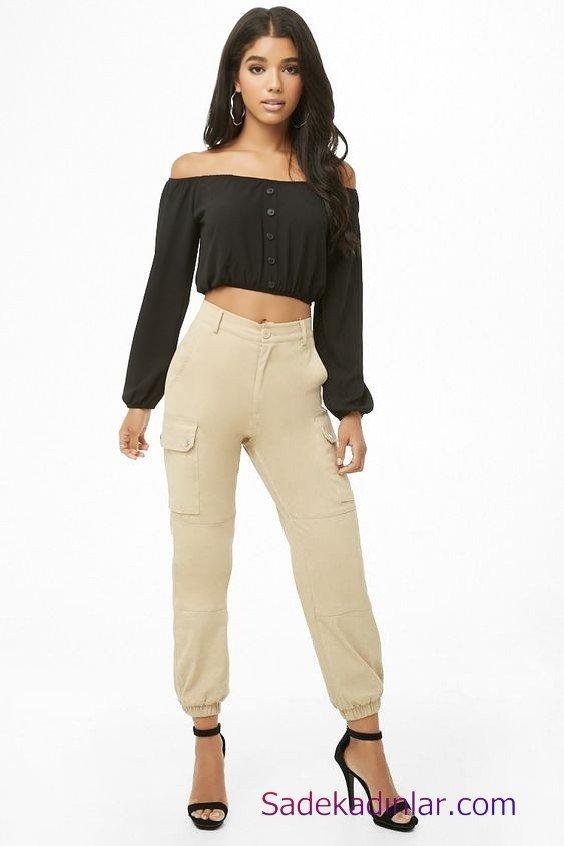 Siyah Gömlek Kombinleri Bayan Krem Yüksel Bel Pantolon Siyah Uzun Kol Straplez Düğmeli Kısa Gömlek Siyah Stiletto Ayakkabı