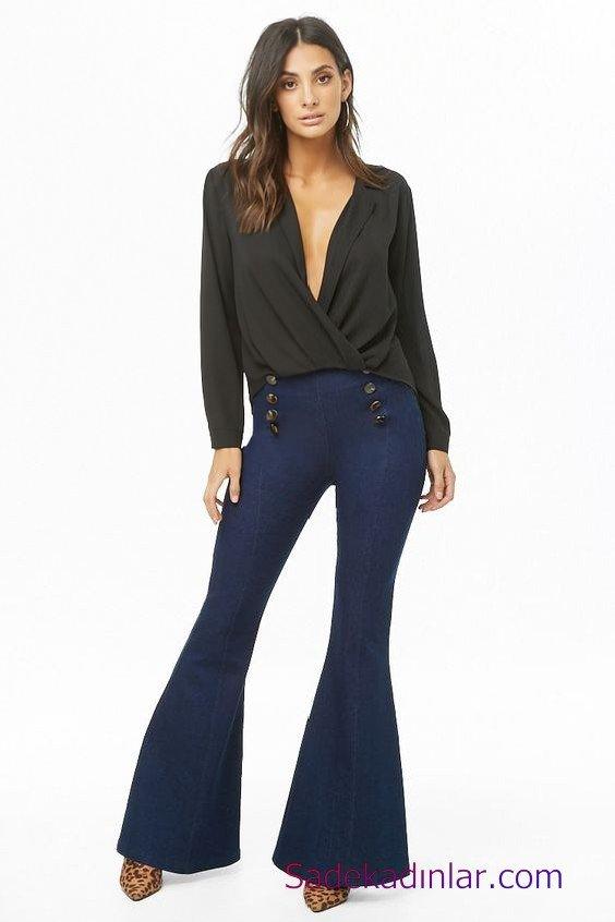 Siyah Gömlek Kombinleri Bayan Lacivert İspanyol Paça Pantolon Siyah Uzun Kol Derin V Yaka Gömlek Kahverengi Leopar Desenli Topuklu Ayakkabı