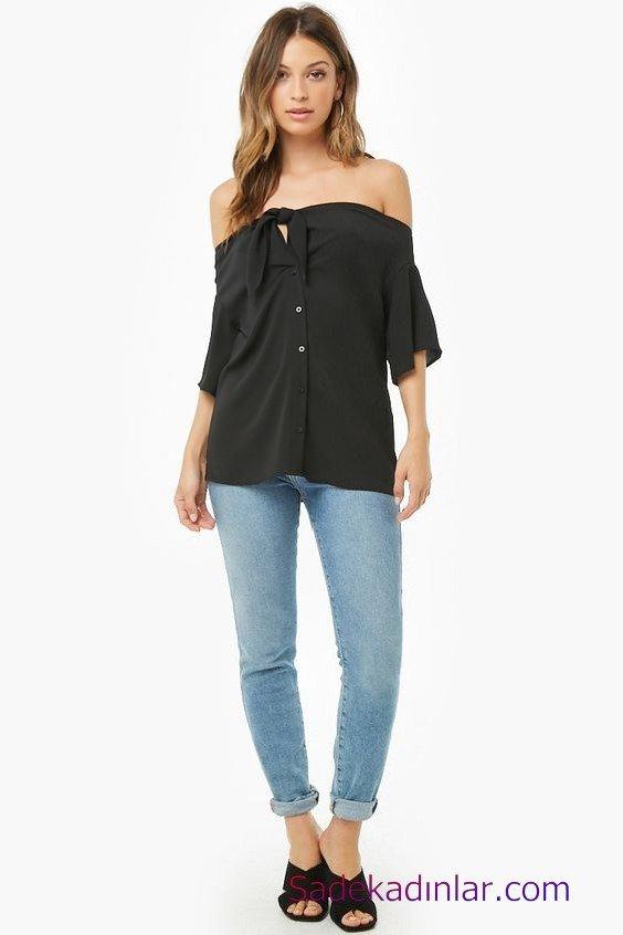 Siyah Gömlek Kombinleri Bayan Mavi Kot Pantolon Siyah Omuz Dekolteli Düşük Kol Düğmeli Gömlek Siyah Topuklu Ayakkabı