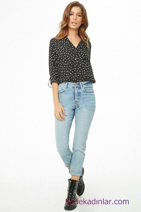 Siyah Gömlek Kombinleri Bayan Mavi Kot Pantolon Siyah Uzun Kol Desenli Gömlek Siyah Deri Bot