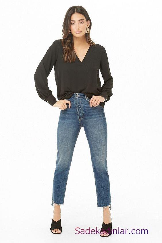 Siyah Gömlek Kombinleri Bayan Mavi Kot Pantolon Siyah Uzun Kol V Yaka Gömlek Siyah Topuklu Terlik