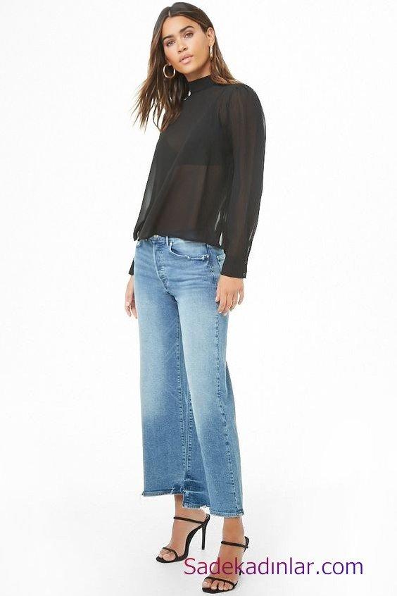 Siyah Gömlek Kombinleri Bayan Mavi Mom Jeans Siyah Transparan Uzun Kol Gömlek Siyah Stiletto Ayakkabı