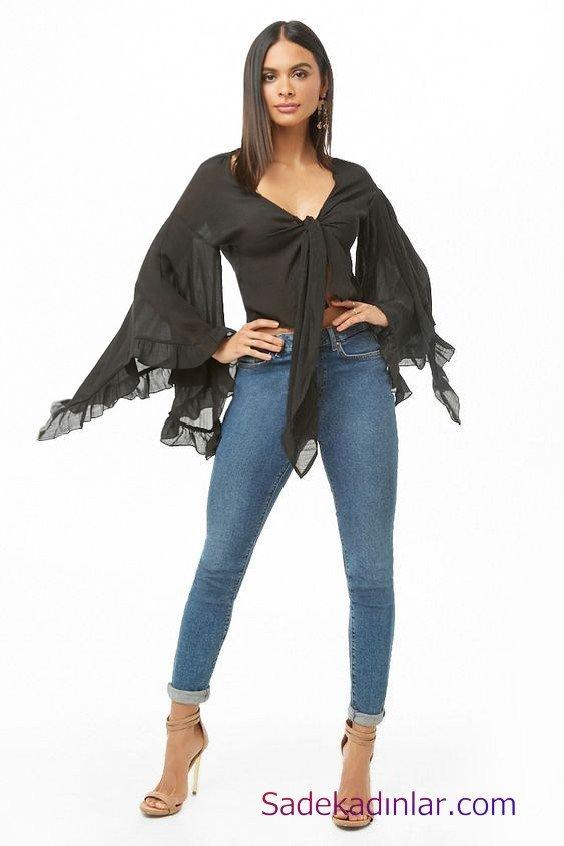 Siyah Gömlek Kombinleri Bayan Mavi Skinny Pantolon Siyah Uzun Kol Bağcıklı V Yaka Gömlek Vizon Topuklu Ayakkabı