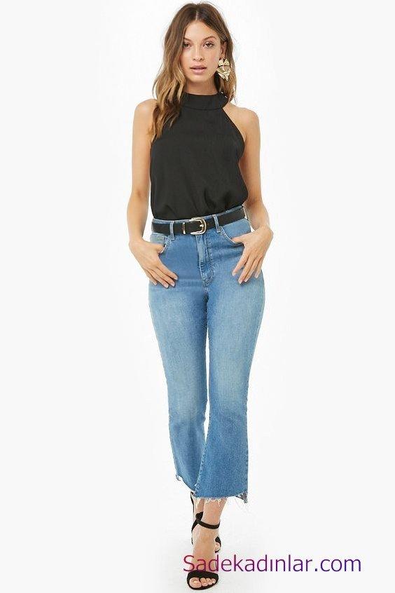 Siyah Gömlek Kombinleri Bayan Mavi Yüksel Bel Kot Pantolon Siyah Halter Yaka Gömlek Siyah Stiletto Ayakkabı