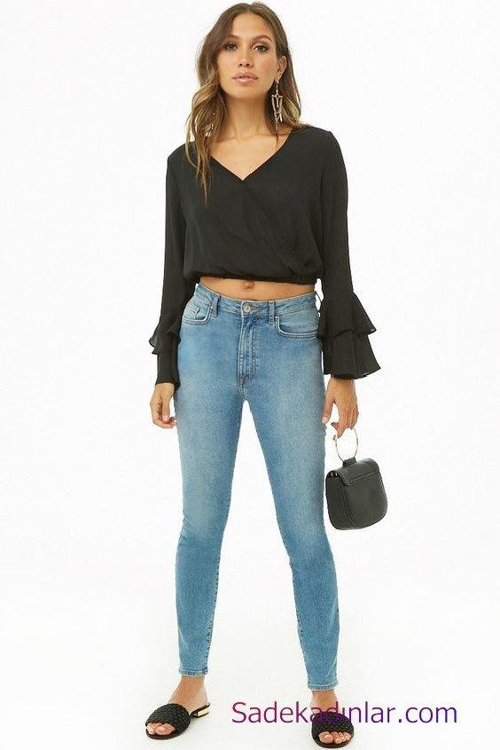 Siyah Gömlek Kombinleri Bayan Mavi Yüksel Bel Pantolon Siyah Uzun Kol V Yaka Gömlek Siyah Terlik