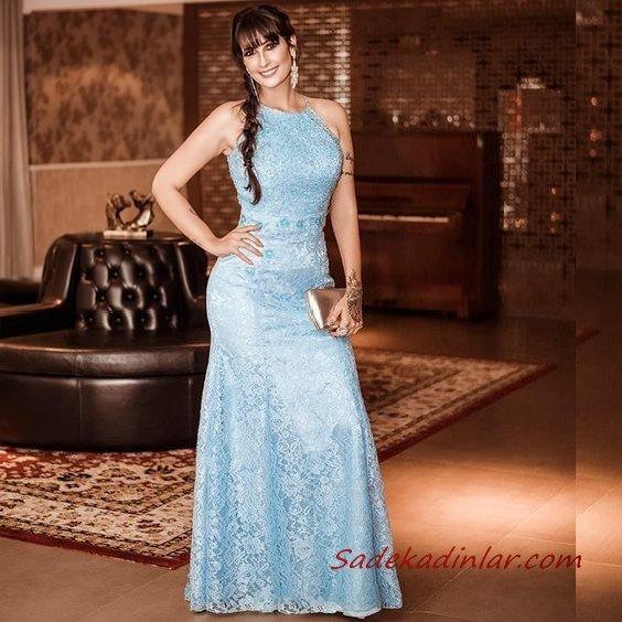 2019 Büyük Beden Abiye Kıyafetler Bebek Mavisi Uzun Halter Yaka Kloş Etekli Dantel