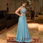 2019 Büyük Beden Abiye Kıyafetler Mavi Uzun Kolsuz İşlemli Kloş Etekli