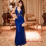 2019 Büyük Beden Abiye Kıyafetler Saks Mavi Uzun Askılı Derin V Yakalı Dantel
