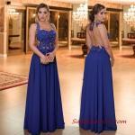 2019 Büyük Beden Abiye Kıyafetler Saks Mavi Uzun Kolsuz Sırt Dekolteli Kloş Etekli