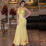 2019 Büyük Beden Abiye Kıyafetler Sarı Uzun Balık Askılı Dantel Detaylı