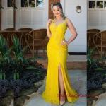 2019 Büyük Beden Abiye Kıyafetler Sarı Uzun Kolsuz Transparan Detaylı Yırtmaçlı
