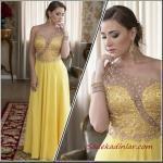 2019 Büyük Beden Abiye Kıyafetler Sarı Uzun Tek Askılı Transparan Detaylı İşlemeli Kloş Etekli