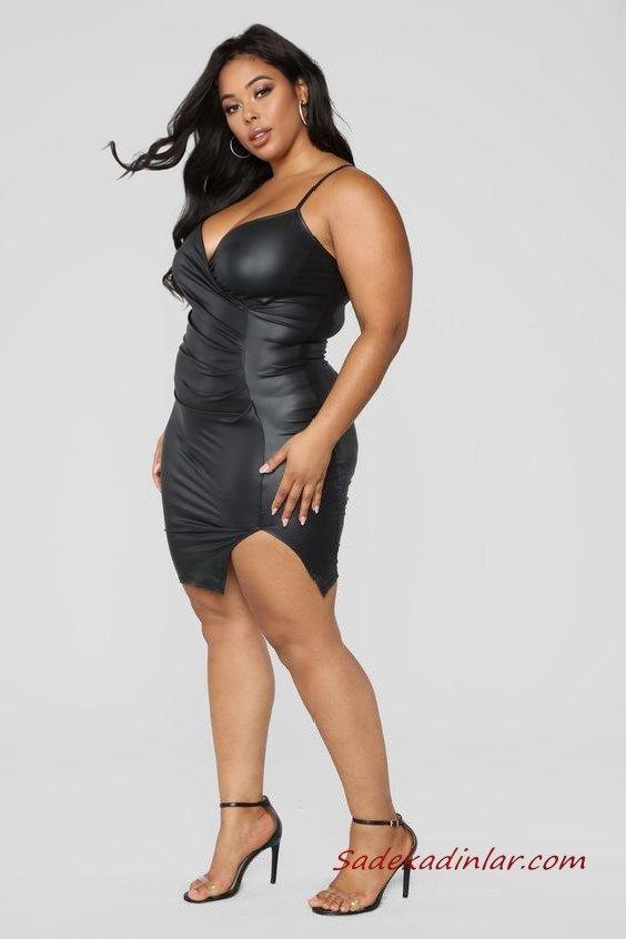 2020 Büyük Beden Abiye Kıyafetler Siyah Kısa Deri Askılı V Yakalı Yandan Yırtmaçlı