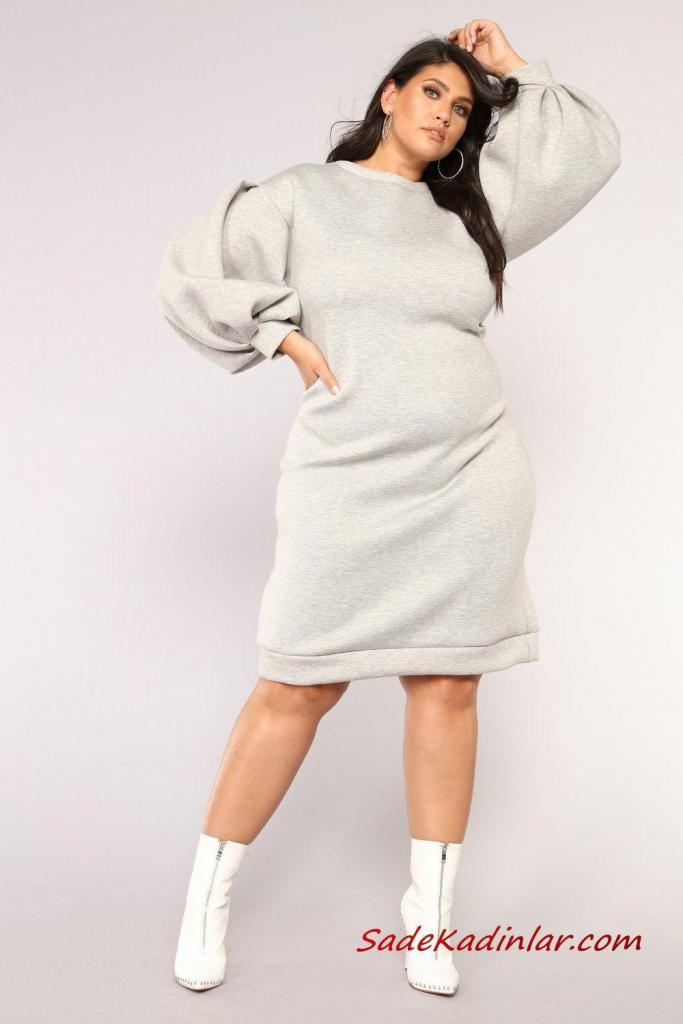 2019 Büyük Beden Spor Kombinler Gri Dizboyu Uzun Kol Sweater Elbise Beyaz Topuklu Bot
