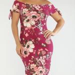 2020 Büyük Beden Yazlık Elbise Modelleri Pembe Dizboyu Omzu Açık Kısa Kol Çiçek Desenli