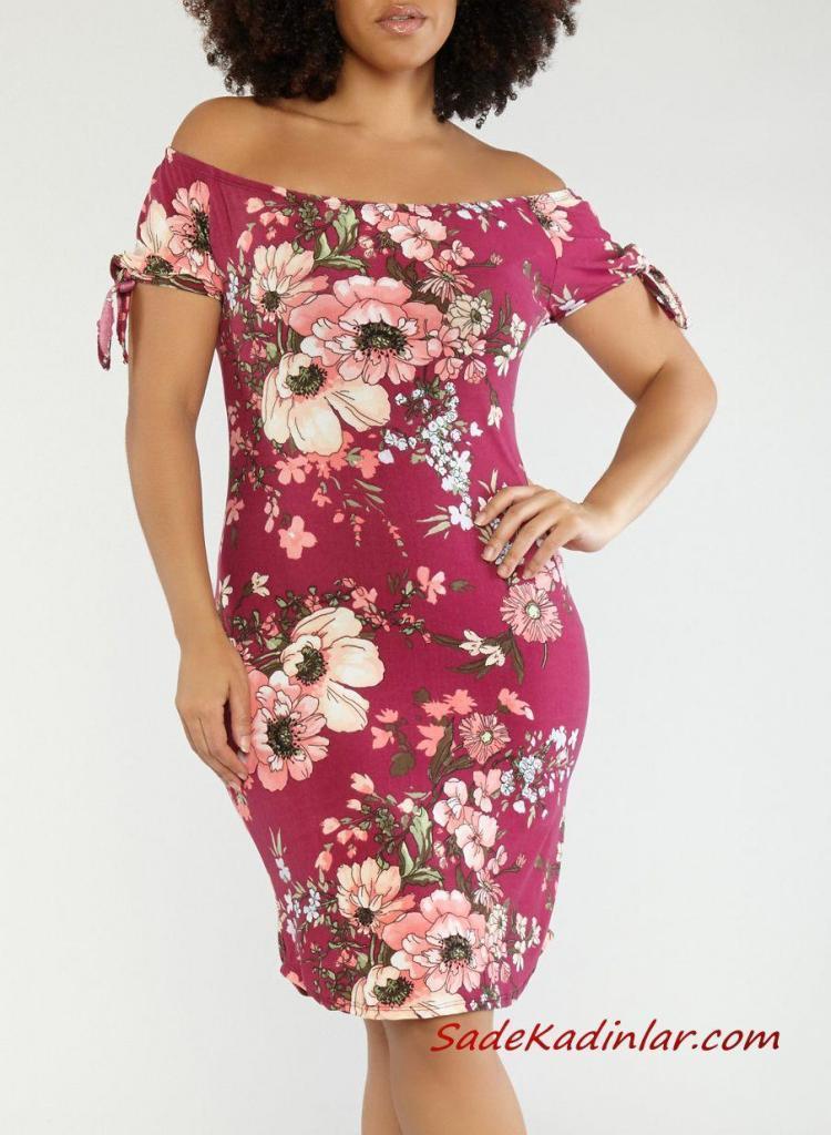 2019 Büyük Beden Yazlık Elbise Modelleri Pembe Dizboyu Omzu Açık Kısa Kol Çiçek Desenli