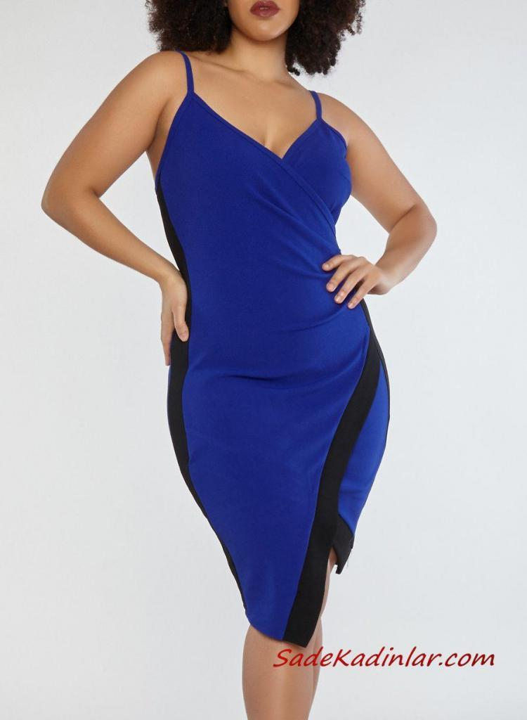 2019 Büyük Beden Yazlık Elbise Modelleri Saks Mavi Midi Askılı V Yakalı