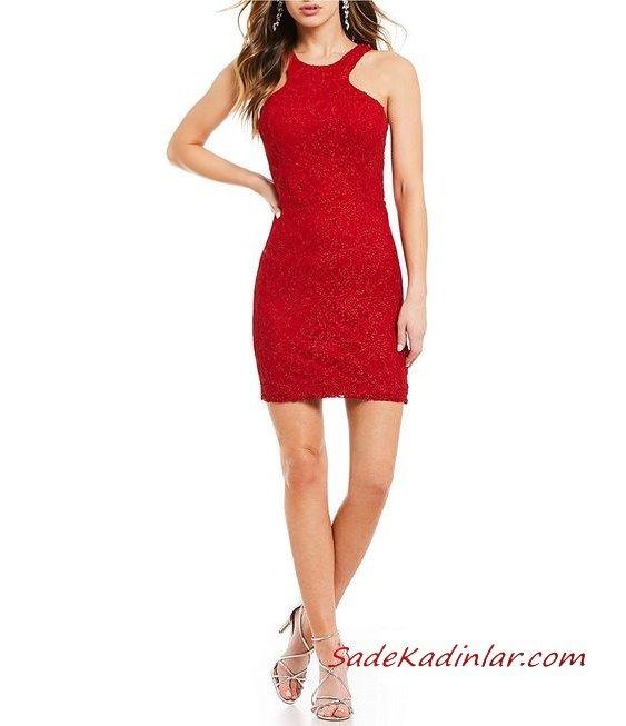 2020 Dantelli Kısa Abiye Gece Elbiseleri Kırmızı Kısa Askılı Kolsuz Simli Kumaş