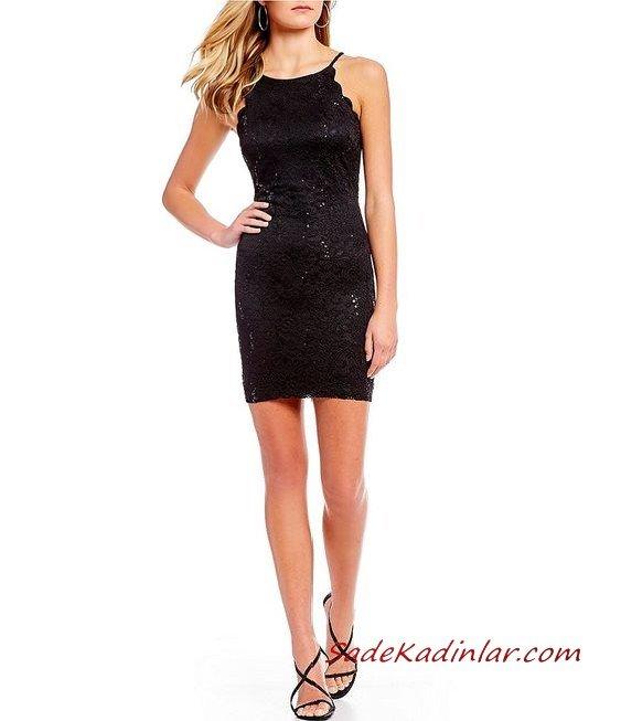 2020 Dantelli Kısa Abiye Gece Elbiseleri Siyah Kısa Askılı Kolsuz Pul İşlemeli