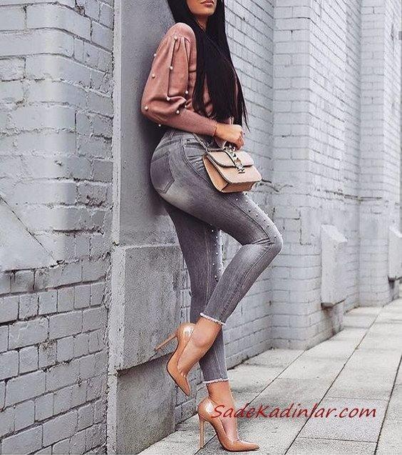2019 Gri Pantolon Kombinleri Gri Skinny Kot Pantolon Pembe İncili Kazak Kahverengi Topuklu Ayakkabı