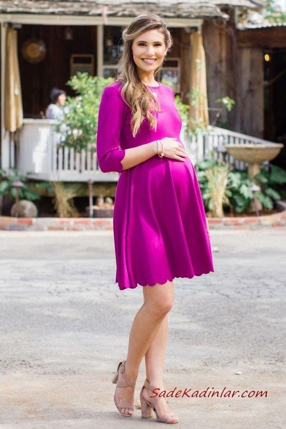 2019 Hamile Elbise Modelleri Mor Kısa Uzun Kol Kayık Yaka Kloş Etek