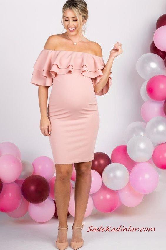 2019 Hamile Elbise Modelleri Pembe Kısa Straplez Düşük Kol Fırfır Detaylı
